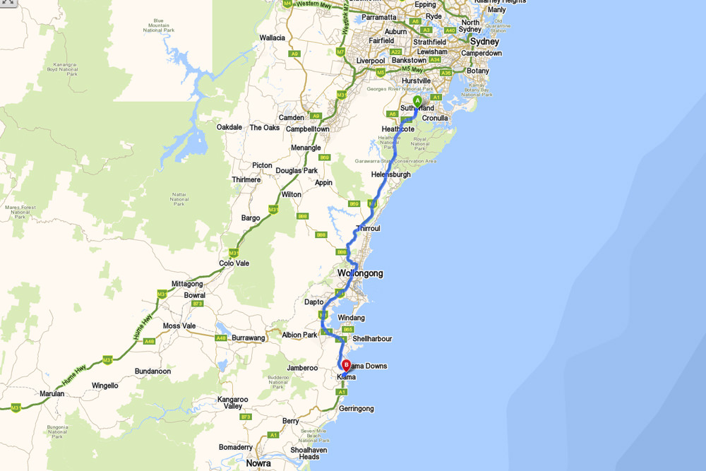 Sydney to Bombo directions and map