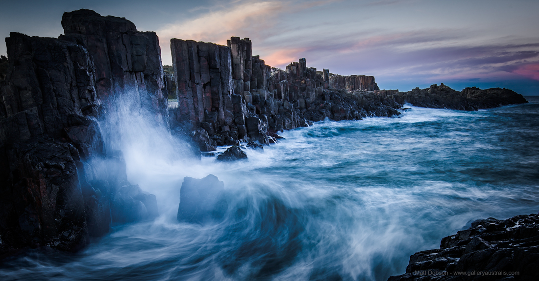 Panorama of Waves Crashing at Bombo Quarry Headland