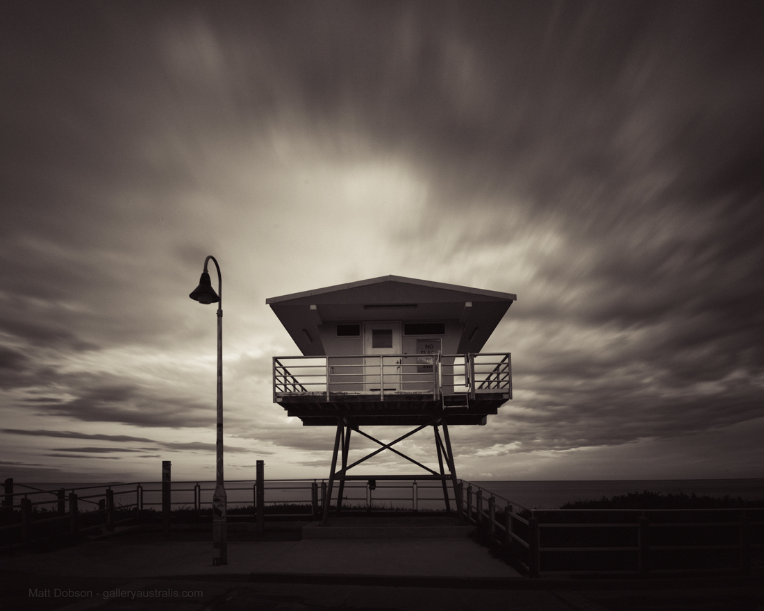 North Cronulla Lifeguard Tower Black and White by Matt Dobson