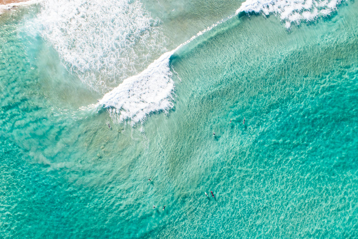 Wanda Beach Surfer Aerial View of Winter Surfers