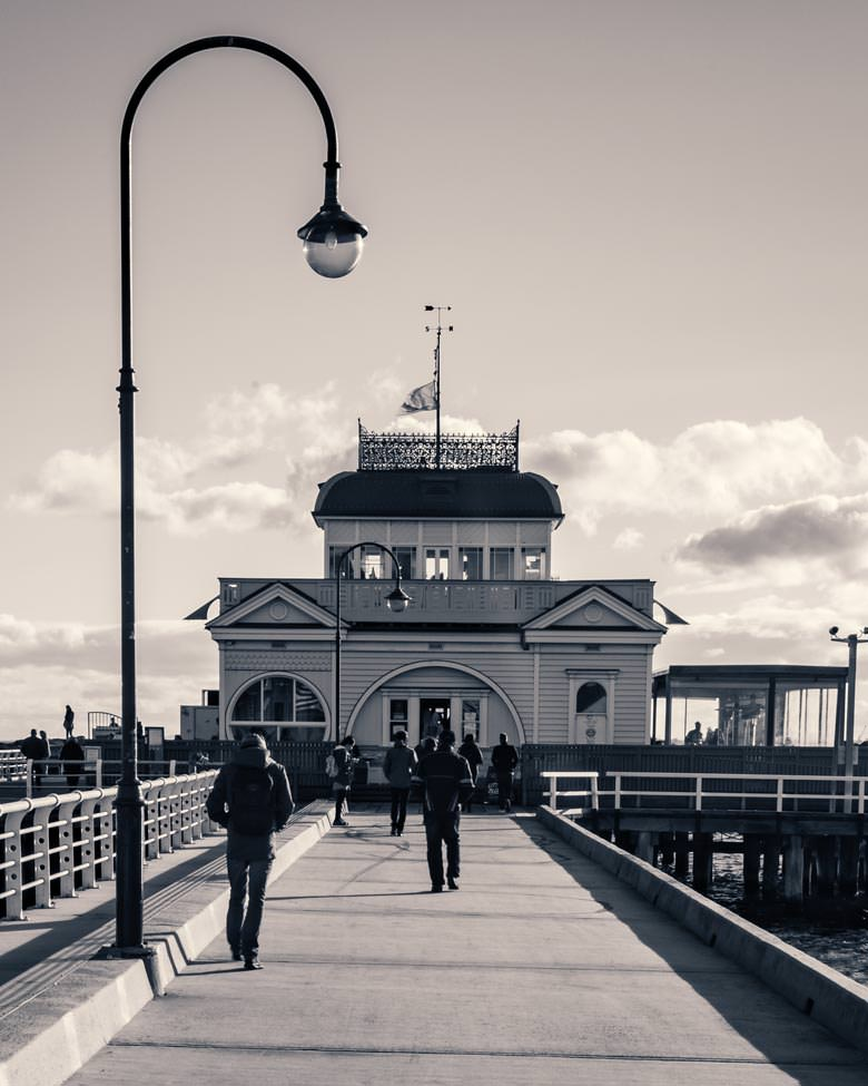 St Kilda Pier and Pavilion Black and White