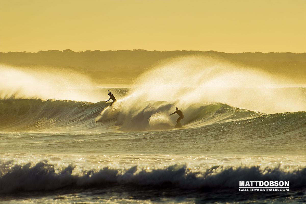 two surfers at dawn on one wave cronulla sydney